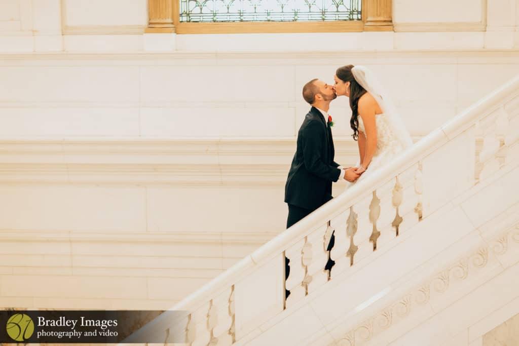 The Belvedere Baltimore Wedding First Kiss