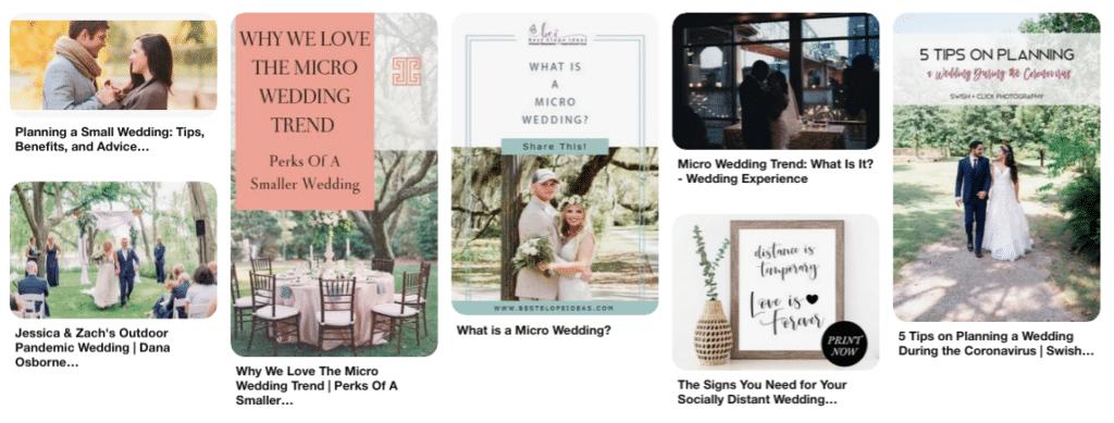 Pinterest board for Micro Weddings Ideas